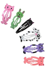A Dozen Assorted Color 4-pc Animal Snap Hair Pin Set