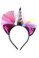 A Dozen Assorted Color Lace Accent Unicorn Magic Sequin Headband