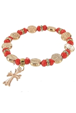 Dozen Assorted Color Cross Charm Bracelet