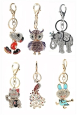 Dozen Assorted Design and Color Rhinestone Enamel Key Chain
