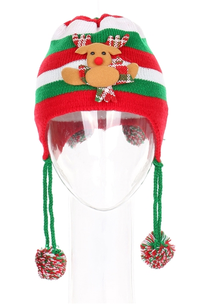 A Dozen Assorted Color Christmas Theme Beanie