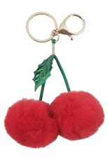 Dozen Cherry Pompom Key Ring
