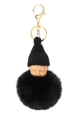 Dozen Assorted Color Sleeping Baby Pompom Key Ring