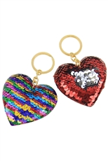 A Dozen Assorted Color Mermaid Sequin Heart Key Ring