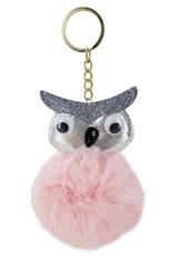 A Dozen Assorted Color Owl Pompom Key Ring