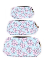 3-pc Flower Print Pouch Set