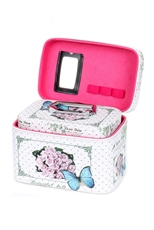Butterfly and Flower Print 3-pc Makeup Box Set