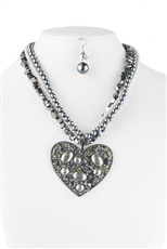 Layered Pearl Heart Pendant Necklace