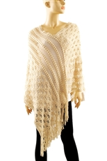 Multi Design Knitted Poncho with Tassel