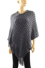 Textured Knitted Poncho with Tassel