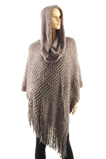 Textured Knit Hooded Poncho with Tassel