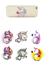 Dozen Assorted Color Unicorn Ring Grip Anti Drop Finger Holder