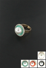 Dozen Assorted Color Rhinestone Pearl Ring