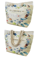 Summer Theme Canvas Beach Tote Bag