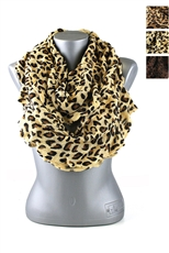 DZ Pack Assorted Color Ruffled Leopard Print Infinity Scarves