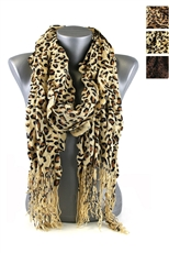 DZ Pack Assorted Color Leopard Ruffled Knit Scarves with Tassels