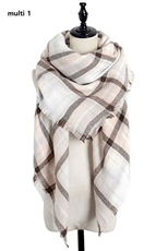 Multi Tone Plaid Oversized Blanket Scarves Shawls