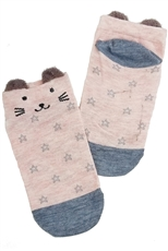A Dozen Assorted Color Cat Theme Socks