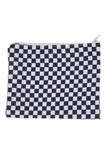 A Dozen Assorted Color Checkered Cosmetic Pouch
