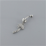 Rhinestone Palm Tree Dangle Belly Ring