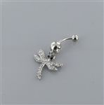 Rhinestone Dragonfly Dangle Belly Ring