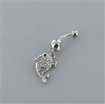 Rhinestone Dolphin Dangle Belly Ring