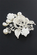 Dozen Rhinestone and Pearl Flower Brooch
