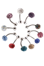 Dozen Assorted Color Rhinestone Ball Belly Piercing