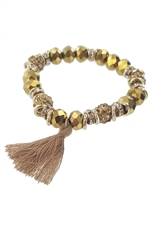 A Dozen Assorted Color Tassel Accent Crystal Stretch Bracelet