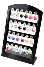 A Dozen Assorted Color Rhinestone Heart Earring with Display Case