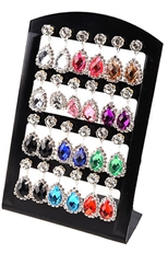 A Dozen Assorted Color Rhinestone Teardrop Earring with Display Case