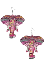 Dozen Assorted Color Tribal Elephant Earring