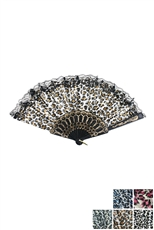 Dozen Assorted Color Leopard Printed Fan