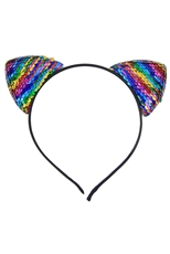 A Dozen Assorted Color Mermaid Sequin Cat Ear Headband