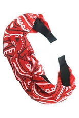 A Dozen Assorted Color Paisley Print Center Knotted Headband