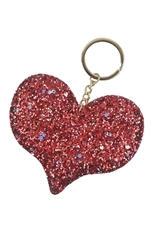 Dozen Assorted Color Glitter Heart Key Ring