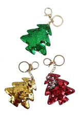 A Dozen Assorted Color Mermaid Sequin Christmas Tree Key Ring