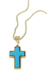 Dozen Assorted Color Turquoise Stone Cross Pendant Necklace