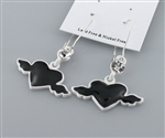 Black and White Heart Wing Earring