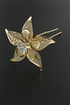 Dozen Gold Floral Hair Pin
