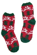 A Dozen Assorted Color Christmas Theme Fuzzy Socks