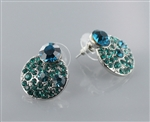 Cali Green Crystal Round Stud Earring