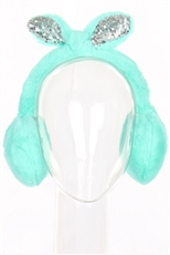 A Dozen Assorted Color Sequin Ribbon Soft Fur Earmuffs