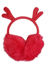 A Dozen Assorted Color Reindeer Ear Soft Fur Earmuffs
