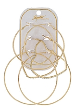 Dozen Gold and Silver 3-pair Hoop Earring Set