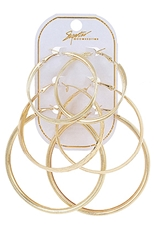 A Dozen Assorted Color 3-pair Hoop Earring Set