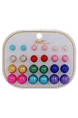 Dozen Assorted Color 12-Pair Multi Pearl Earring Set