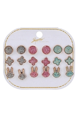 A Dozen Assorted Color 9-pair Multi Earring Set