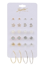 A Dozen 12-pair Multi Earring Set