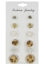 A Dozen Assorted Color 6-pair Multi Earring Set